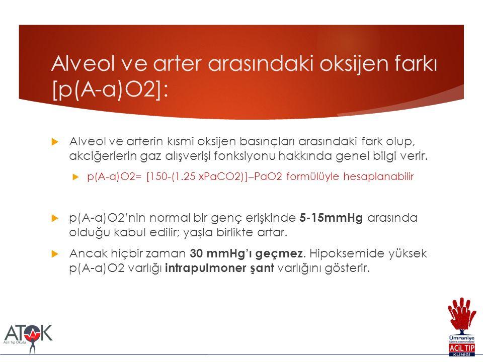 Alveol ve arter arasındaki oksijen farkı [p(A-a)O2]: